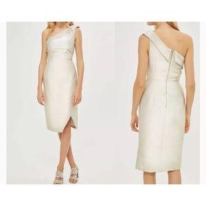 Topshop Gold Sparkle Tinsel One Shoulder Dress